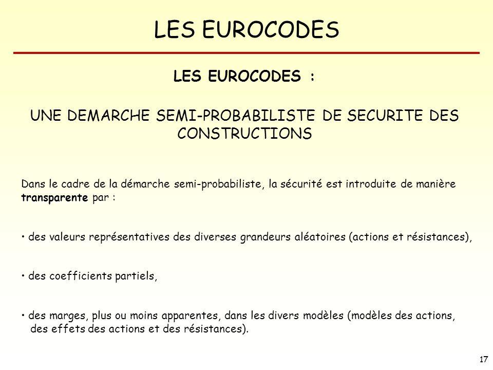 LES EUROCODES 17 LES EUROCODES : UNE DEMARCHE SEMI-PROBABILISTE DE SECURITE DES CONSTRUCTIONS transparente Dans le cadre de la démarche semi-probabili