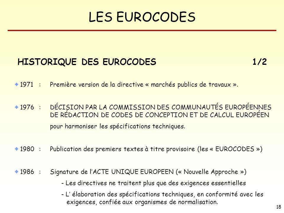 LES EUROCODES 18 HISTORIQUE DES EUROCODES 1971 :Première version de la directive « marchés publics de travaux ». 1976 : DÉCISION PAR LA COMMISSION DES