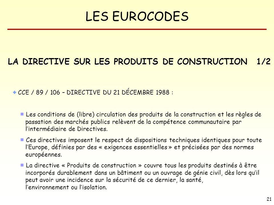 LES EUROCODES 21 LA DIRECTIVE SUR LES PRODUITS DE CONSTRUCTION CCE / 89 / 106 – DIRECTIVE DU 21 DÉCEMBRE 1988 : Les conditions de (libre) circulation