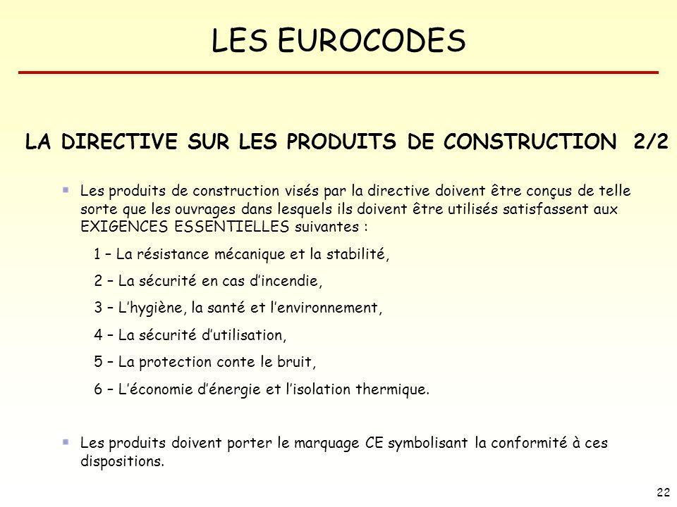 LES EUROCODES 22 LA DIRECTIVE SUR LES PRODUITS DE CONSTRUCTION Les produits de construction visés par la directive doivent être conçus de telle sorte