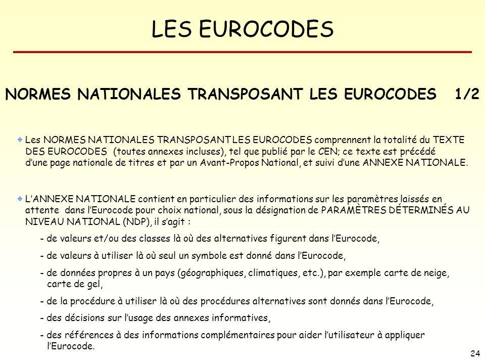 LES EUROCODES 24 NORMES NATIONALES TRANSPOSANT LES EUROCODES1/2 Les NORMES NATIONALES TRANSPOSANT LES EUROCODES comprennent la totalité du TEXTE DES E