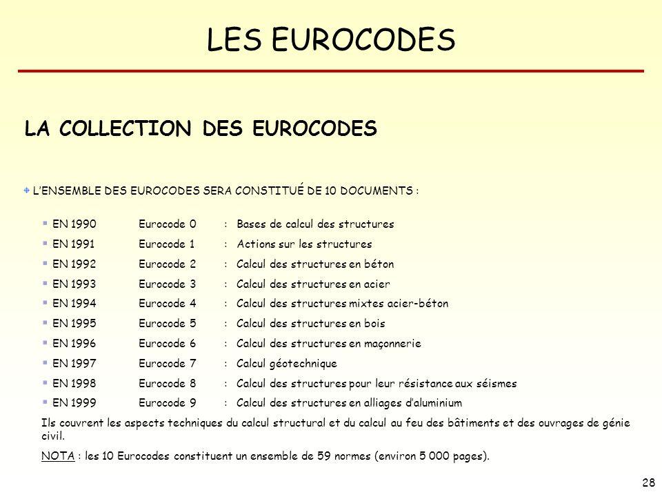 LES EUROCODES 28 LA COLLECTION DES EUROCODES LENSEMBLE DES EUROCODES SERA CONSTITUÉ DE 10 DOCUMENTS : EN 1990 Eurocode 0 : Bases de calcul des structu