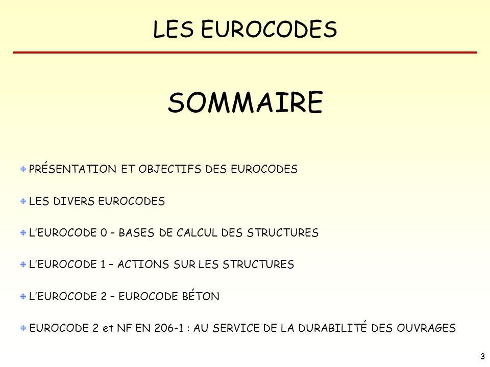 LES EUROCODES 64 On distingue 2 états limites : ETATS LIMITES DE SERVICE (ELS) Fonctionnement de la structure ou des éléments structuraux en utilisation normale, confort des personnes, aspect de la construction.