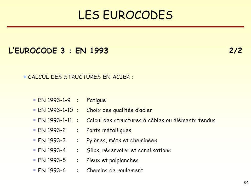 LES EUROCODES 34 LEUROCODE 3 : EN 19932/2 CALCUL DES STRUCTURES EN ACIER : EN 1993-1-9 : Fatigue EN 1993-1-10 : Choix des qualités dacier EN 1993-1-11
