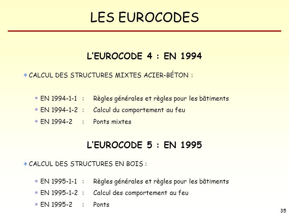 LES EUROCODES 35 LEUROCODE 4 : EN 1994 CALCUL DES STRUCTURES MIXTES ACIER-BÉTON : EN 1994-1-1 : Règles générales et règles pour les bâtiments EN 1994-
