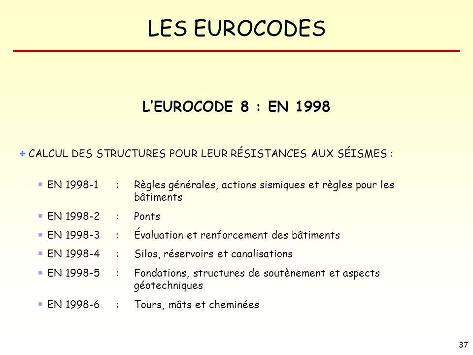 LES EUROCODES 37 LEUROCODE 8 : EN 1998 CALCUL DES STRUCTURES POUR LEUR RÉSISTANCES AUX SÉISMES : EN 1998-1 : Règles générales, actions sismiques et rè