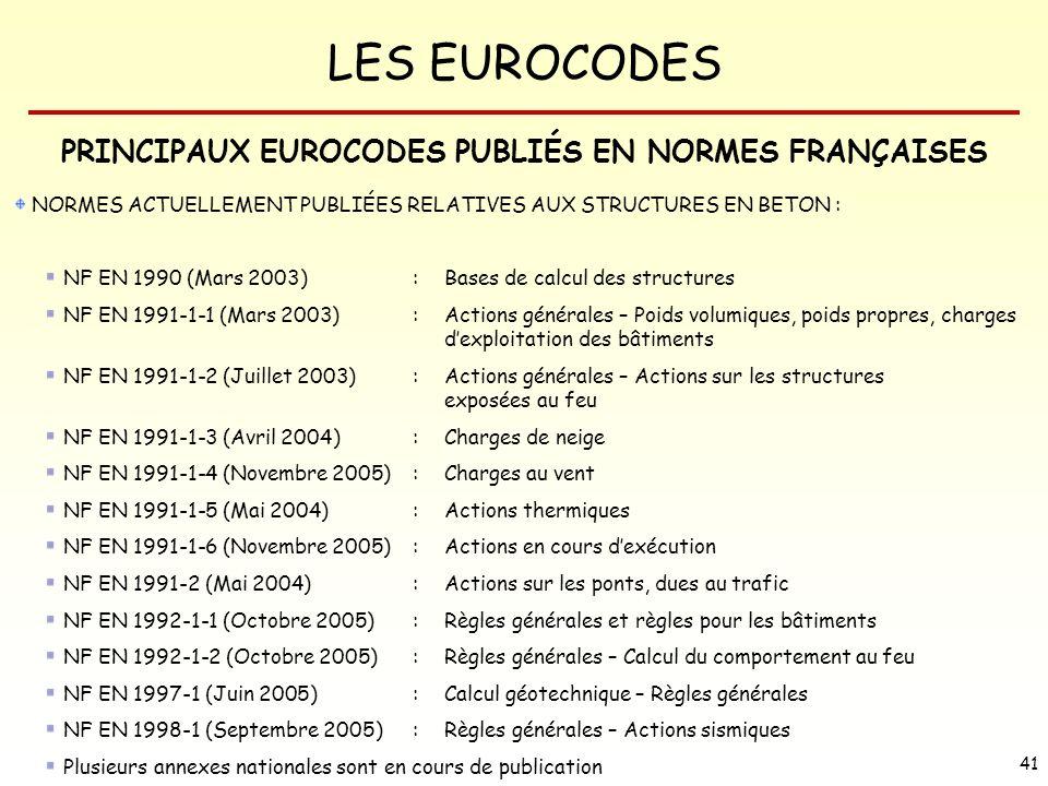 LES EUROCODES 41 PRINCIPAUX EUROCODES PUBLIÉS EN NORMES FRANÇAISES NORMES ACTUELLEMENT PUBLIÉES RELATIVES AUX STRUCTURES EN BETON : NF EN 1990 (Mars 2