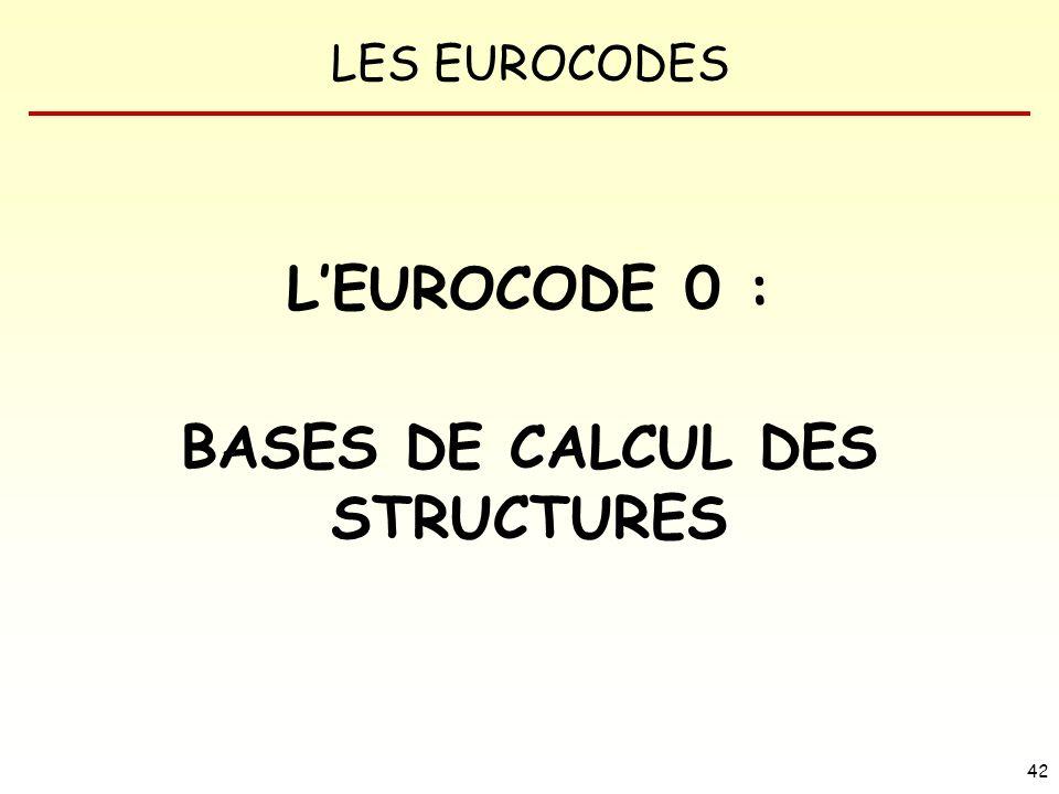 LES EUROCODES 42 LEUROCODE 0 : BASES DE CALCUL DES STRUCTURES