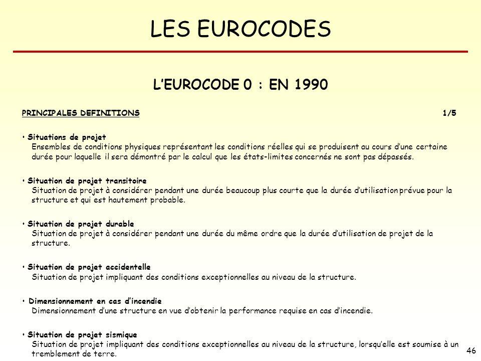 LES EUROCODES 46 LEUROCODE 0 : EN 1990 PRINCIPALES DEFINITIONS1/5 Situations de projet Ensembles de conditions physiques représentant les conditions r