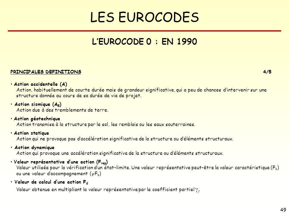 LES EUROCODES 49 LEUROCODE 0 : EN 1990 PRINCIPALES DEFINITIONS4/5 Action accidentelle (A) Action, habituellement de courte durée mais de grandeur sign