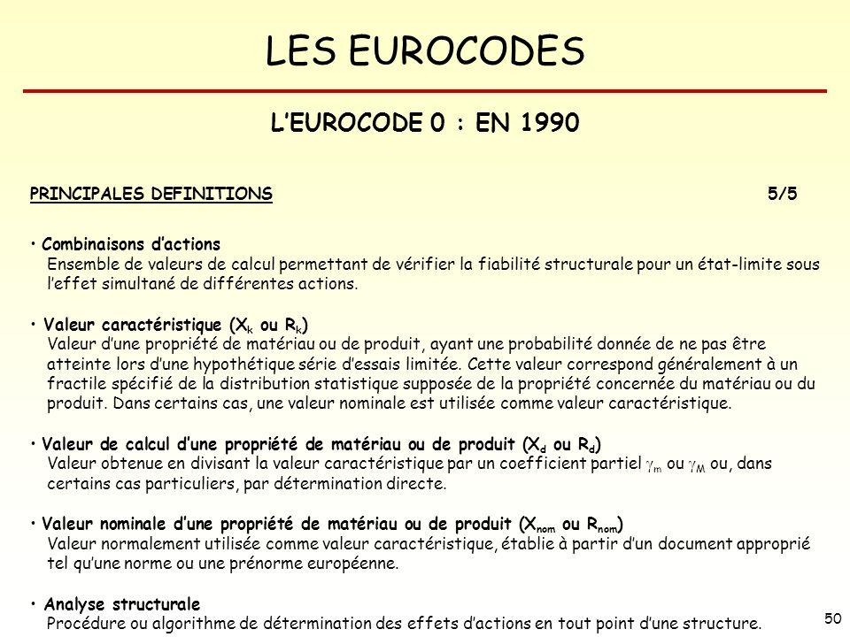 LES EUROCODES 50 LEUROCODE 0 : EN 1990 PRINCIPALES DEFINITIONS5/5 Combinaisons dactions Ensemble de valeurs de calcul permettant de vérifier la fiabil