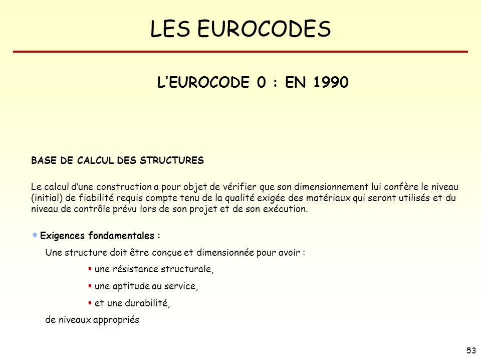 LES EUROCODES 53 LEUROCODE 0 : EN 1990 BASE DE CALCUL DES STRUCTURES Le calcul dune construction a pour objet de vérifier que son dimensionnement lui
