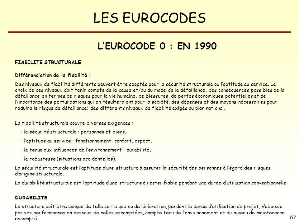 LES EUROCODES 57 LEUROCODE 0 : EN 1990 FIABILITE STRUCTURALE Différenciation de la fiabilité : Des niveaux de fiabilité différents peuvent être adopté