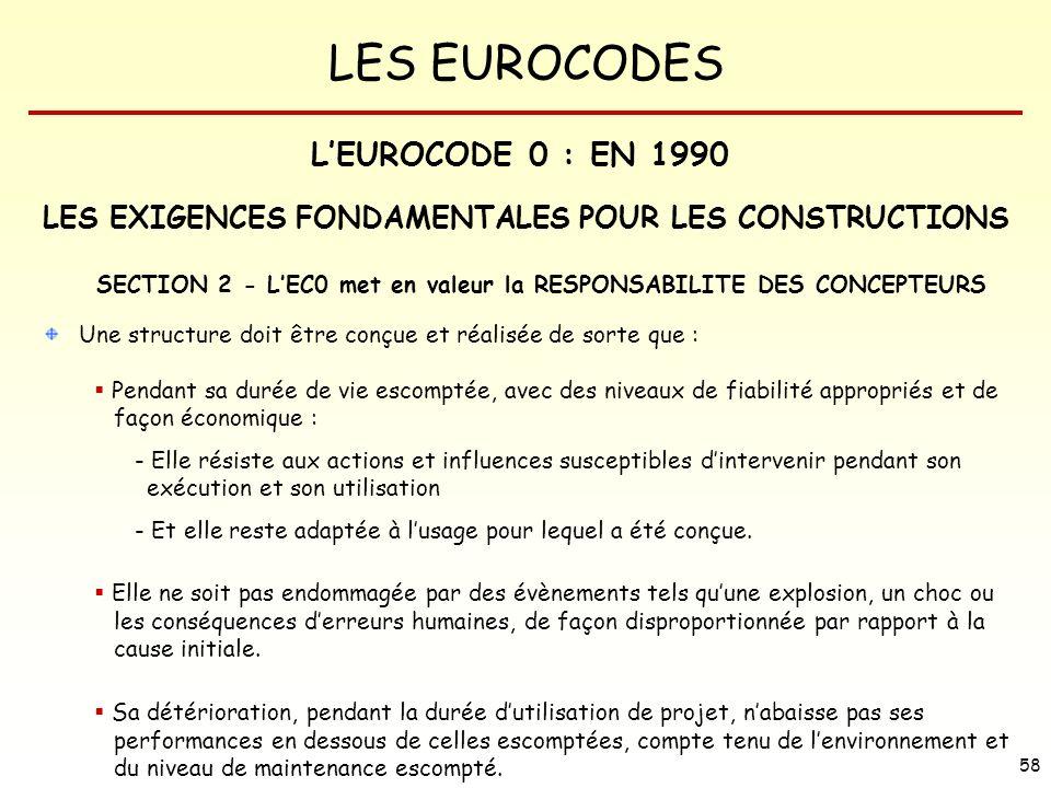 LES EUROCODES 58 LES EXIGENCES FONDAMENTALES POUR LES CONSTRUCTIONS SECTION 2 - LEC0 met en valeur la RESPONSABILITE DES CONCEPTEURS Une structure doi