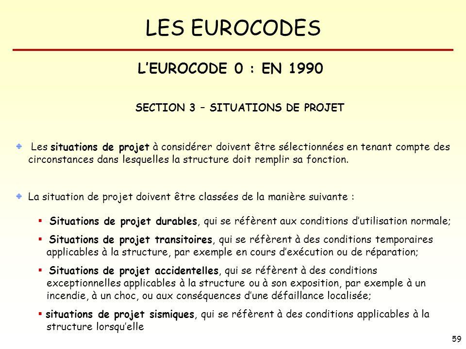 LES EUROCODES 59 SECTION 3 – SITUATIONS DE PROJET Les situations de projet à considérer doivent être sélectionnées en tenant compte des circonstances