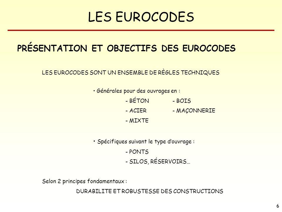 LES EUROCODES 27 LES DIVERS EUROCODES