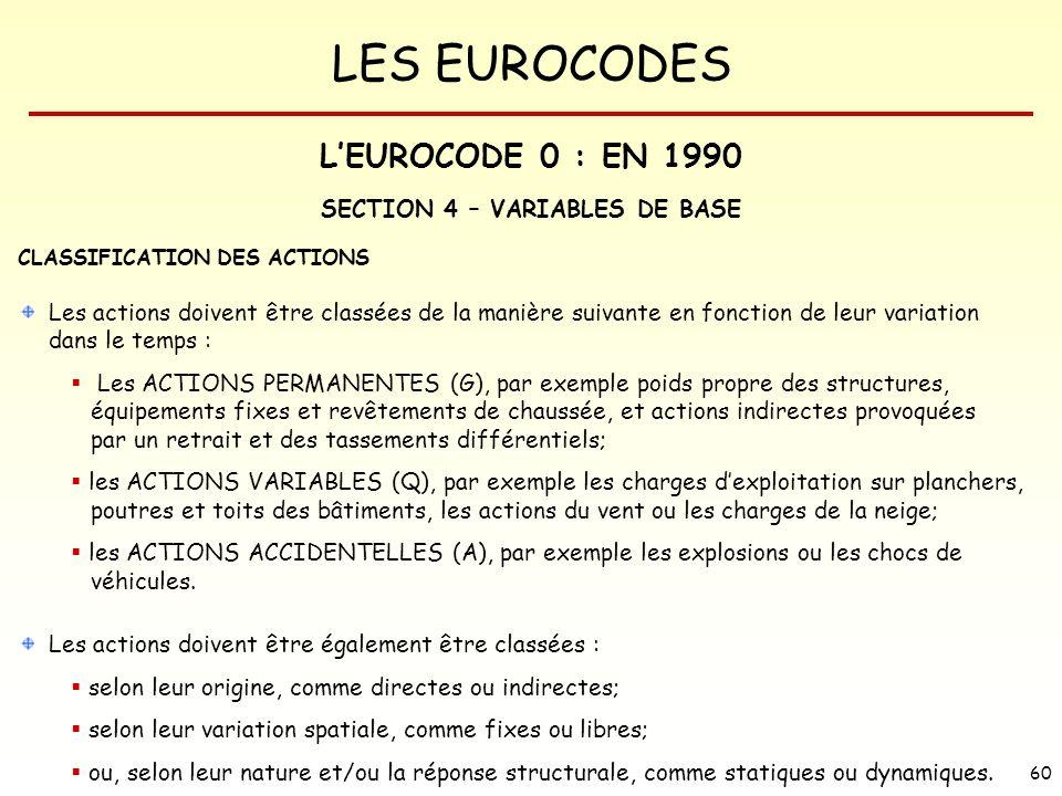LES EUROCODES 60 SECTION 4 – VARIABLES DE BASE CLASSIFICATION DES ACTIONS Les actions doivent être classées de la manière suivante en fonction de leur