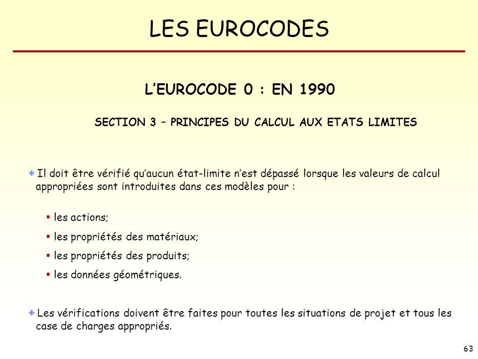 LES EUROCODES 63 Il doit être vérifié quaucun état-limite nest dépassé lorsque les valeurs de calcul appropriées sont introduites dans ces modèles pou