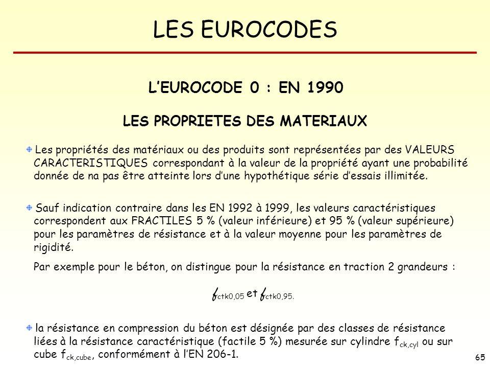 LES EUROCODES 65 LES PROPRIETES DES MATERIAUX Les propriétés des matériaux ou des produits sont représentées par des VALEURS CARACTERISTIQUES correspo