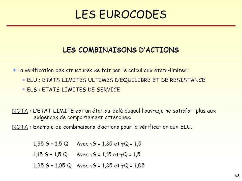 LES EUROCODES 68 LES COMBINAISONS DACTIONS La vérification des structures se fait par le calcul aux états-limites : ELU : ETATS LIMITES ULTIMES DEQUIL