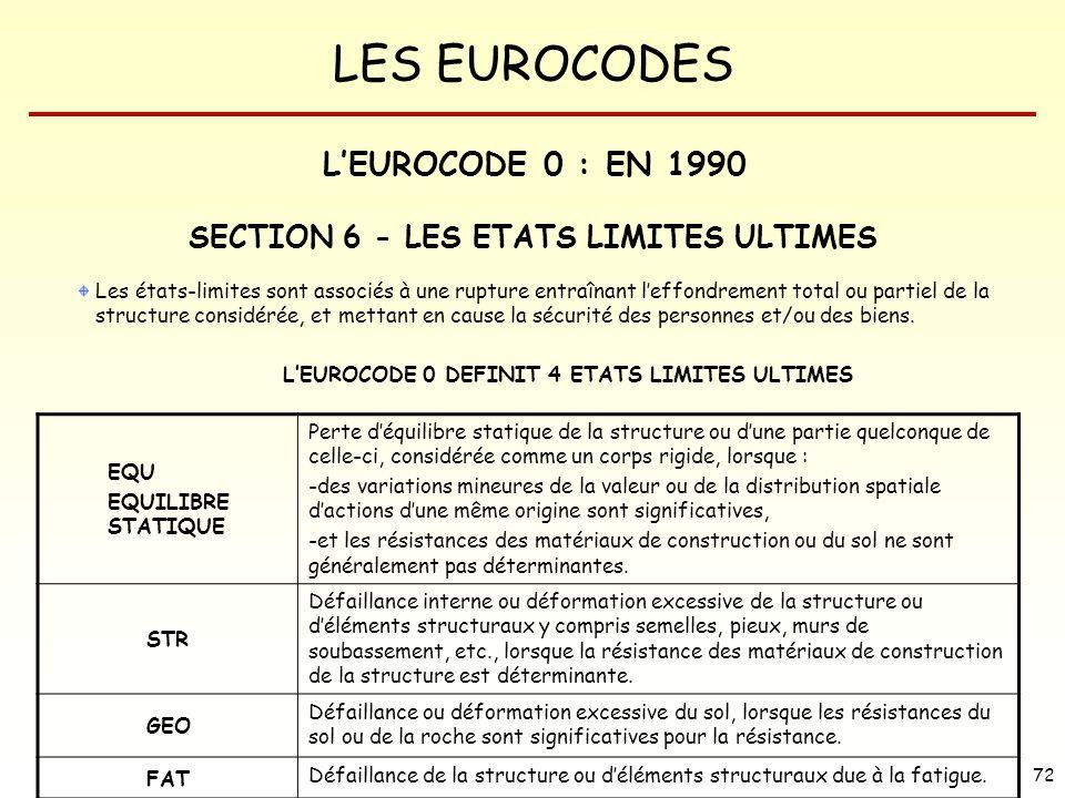 LES EUROCODES 72 Les états-limites sont associés à une rupture entraînant leffondrement total ou partiel de la structure considérée, et mettant en cau