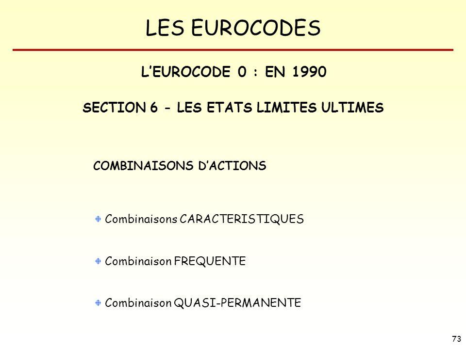 LES EUROCODES 73 COMBINAISONS DACTIONS Combinaisons CARACTERISTIQUES Combinaison FREQUENTE Combinaison QUASI-PERMANENTE SECTION 6 - LES ETATS LIMITES