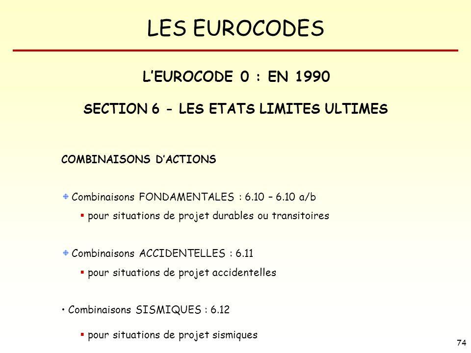 LES EUROCODES 74 COMBINAISONS DACTIONS Combinaisons FONDAMENTALES : 6.10 – 6.10 a/b pour situations de projet durables ou transitoires Combinaisons AC
