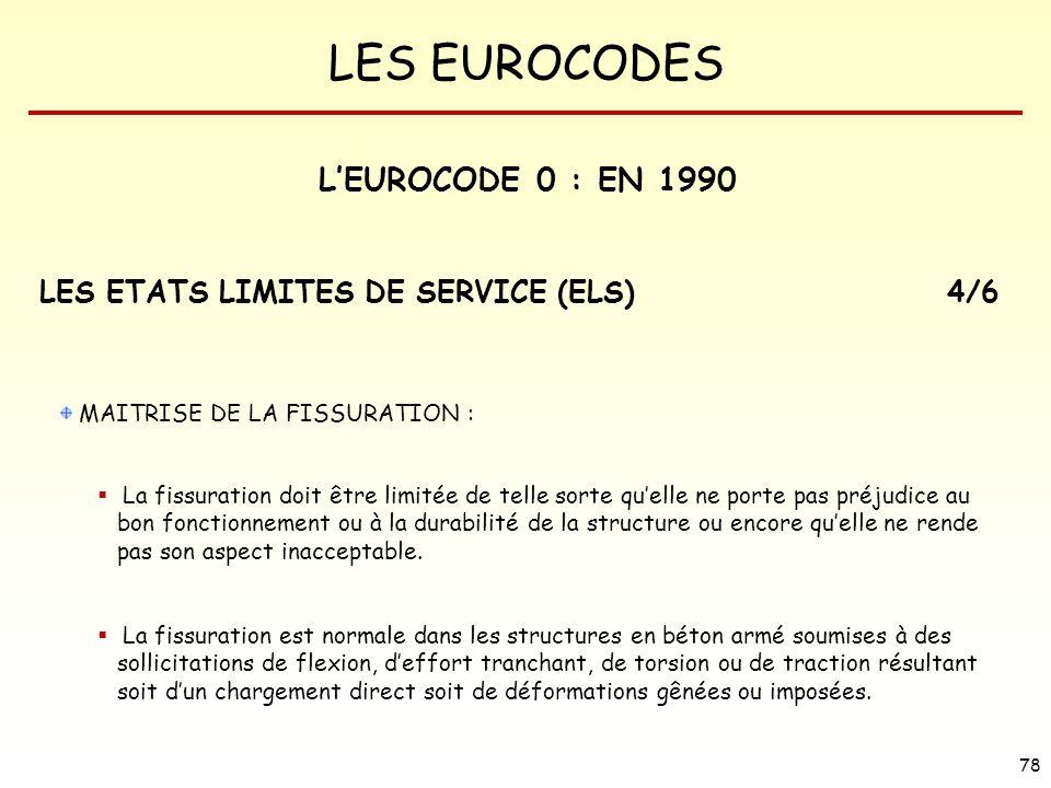 LES EUROCODES 78 MAITRISE DE LA FISSURATION : La fissuration doit être limitée de telle sorte quelle ne porte pas préjudice au bon fonctionnement ou à