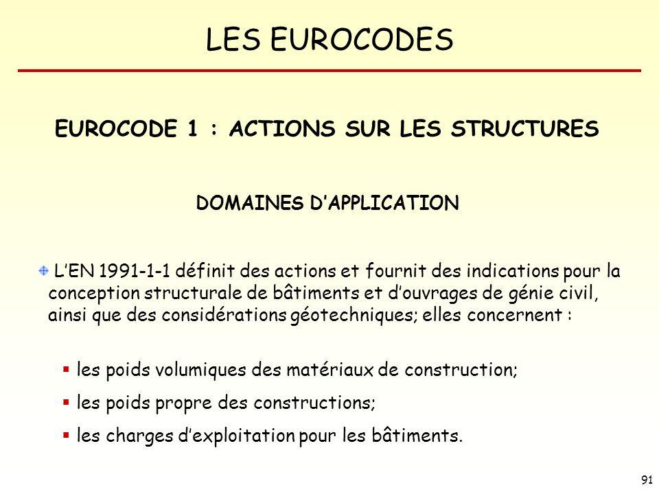 LES EUROCODES 91 LEN 1991-1-1 définit des actions et fournit des indications pour la conception structurale de bâtiments et douvrages de génie civil,