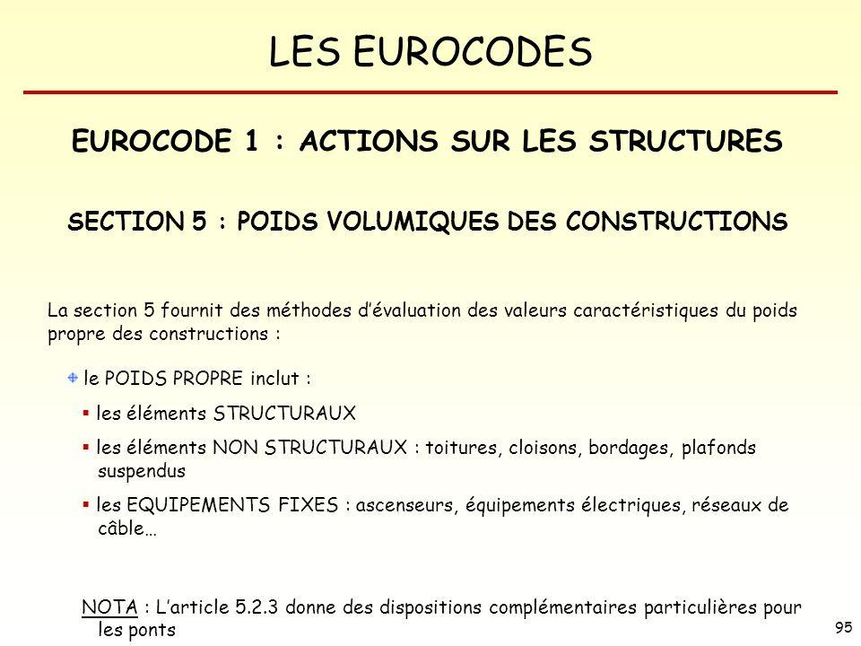 LES EUROCODES 95 EUROCODE 1 : ACTIONS SUR LES STRUCTURES SECTION 5 : POIDS VOLUMIQUES DES CONSTRUCTIONS La section 5 fournit des méthodes dévaluation