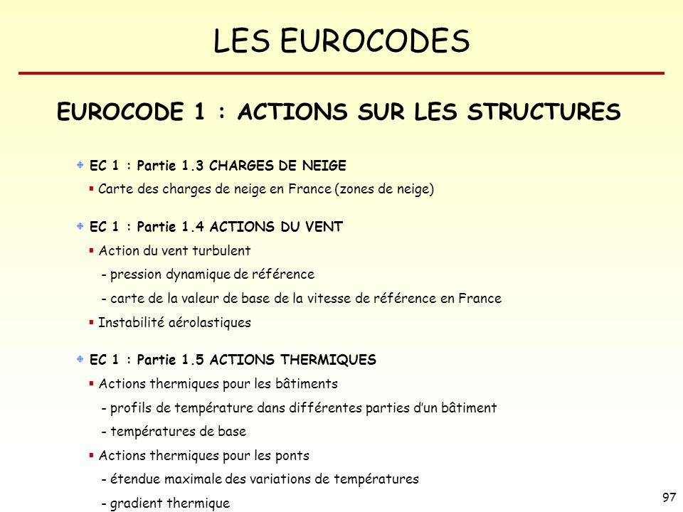 LES EUROCODES 97 EUROCODE 1 : ACTIONS SUR LES STRUCTURES EC 1 : Partie 1.3 CHARGES DE NEIGE Carte des charges de neige en France (zones de neige) EC 1