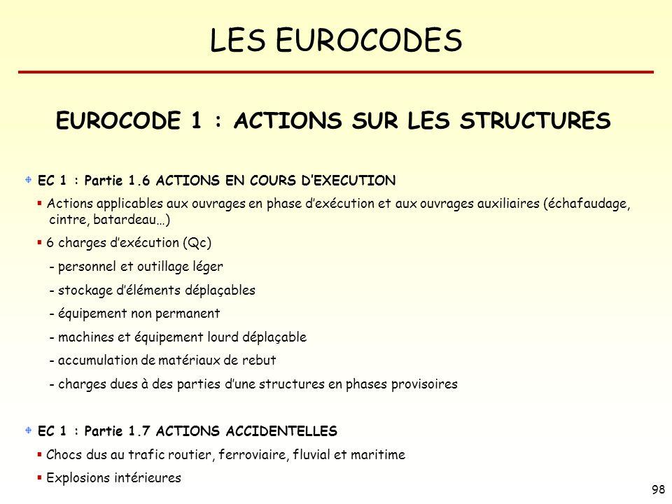 LES EUROCODES 98 EUROCODE 1 : ACTIONS SUR LES STRUCTURES EC 1 : Partie 1.6 ACTIONS EN COURS DEXECUTION Actions applicables aux ouvrages en phase dexéc