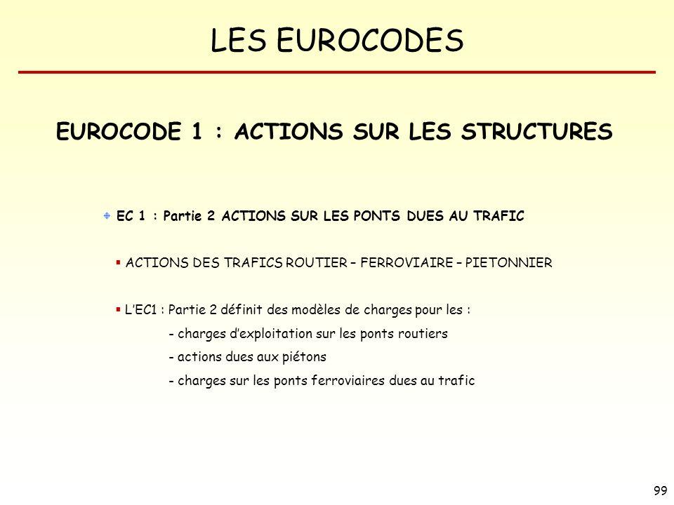LES EUROCODES 99 EUROCODE 1 : ACTIONS SUR LES STRUCTURES EC 1 : Partie 2 ACTIONS SUR LES PONTS DUES AU TRAFIC ACTIONS DES TRAFICS ROUTIER – FERROVIAIR
