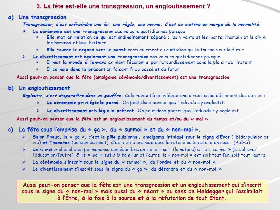 a)Une transgression Transgresser, cest enfreindre une loi, une règle, une norme. Cest se mettre en marge de la normalité. La cérémonie La cérémonie es