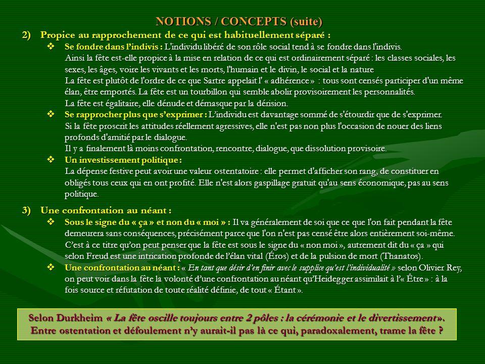 NOTIONS / CONCEPTS (suite) 2)Propice au rapprochement de ce qui est habituellement séparé : Se fondre dans lindivis : L'individu libéré de son rôle so