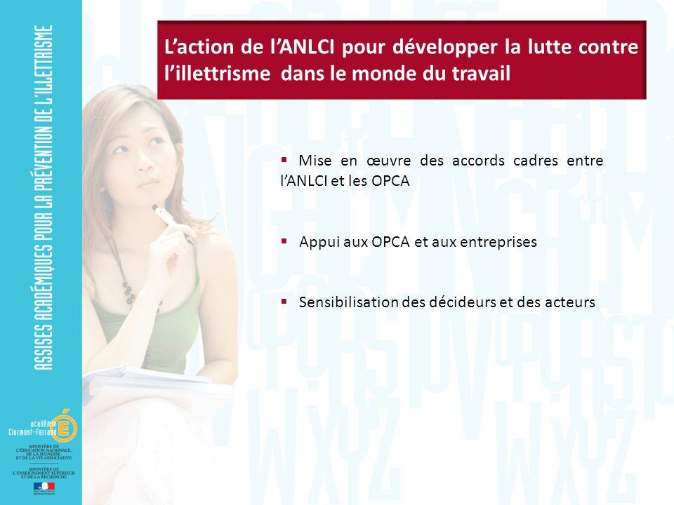 Mise en œuvre des accords cadres entre lANLCI et les OPCA Appui aux OPCA et aux entreprises Sensibilisation des décideurs et des acteurs