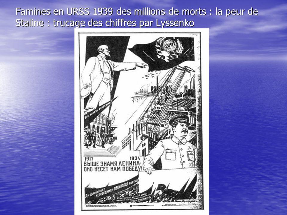Famines en URSS 1939 des millions de morts : la peur de Staline : trucage des chiffres par Lyssenko