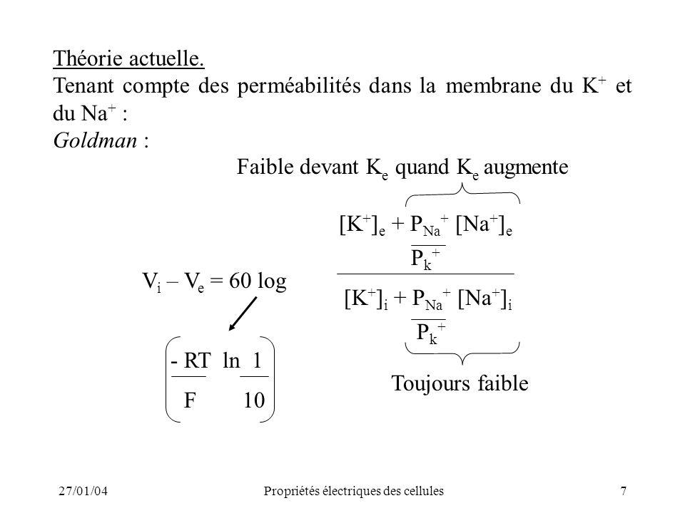 27/01/04Propriétés électriques des cellules7 Pk+Pk+ Théorie actuelle. Tenant compte des perméabilités dans la membrane du K + et du Na + : Goldman : F