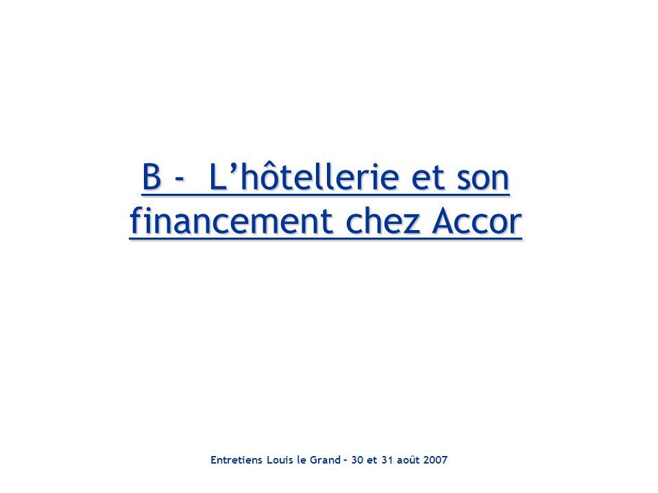 Entretiens Louis le Grand – 30 et 31 août 2007 B - Lhôtellerie et son financement chez Accor