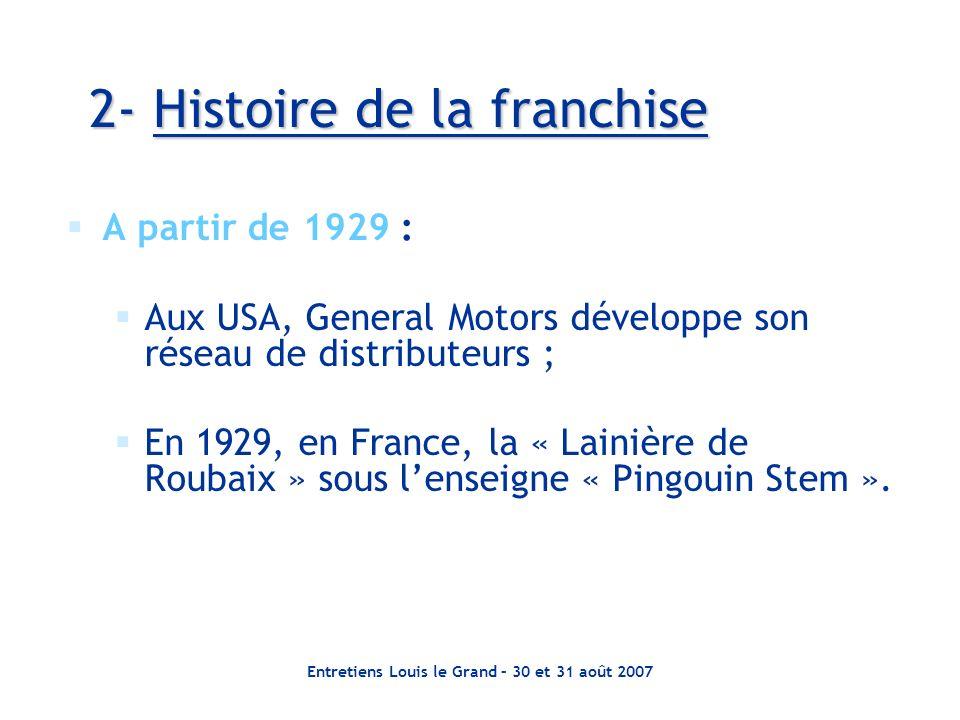 Entretiens Louis le Grand – 30 et 31 août 2007 2- Histoire de la franchise A partir de 1929 : Aux USA, General Motors développe son réseau de distributeurs ; En 1929, en France, la « Lainière de Roubaix » sous lenseigne « Pingouin Stem ».
