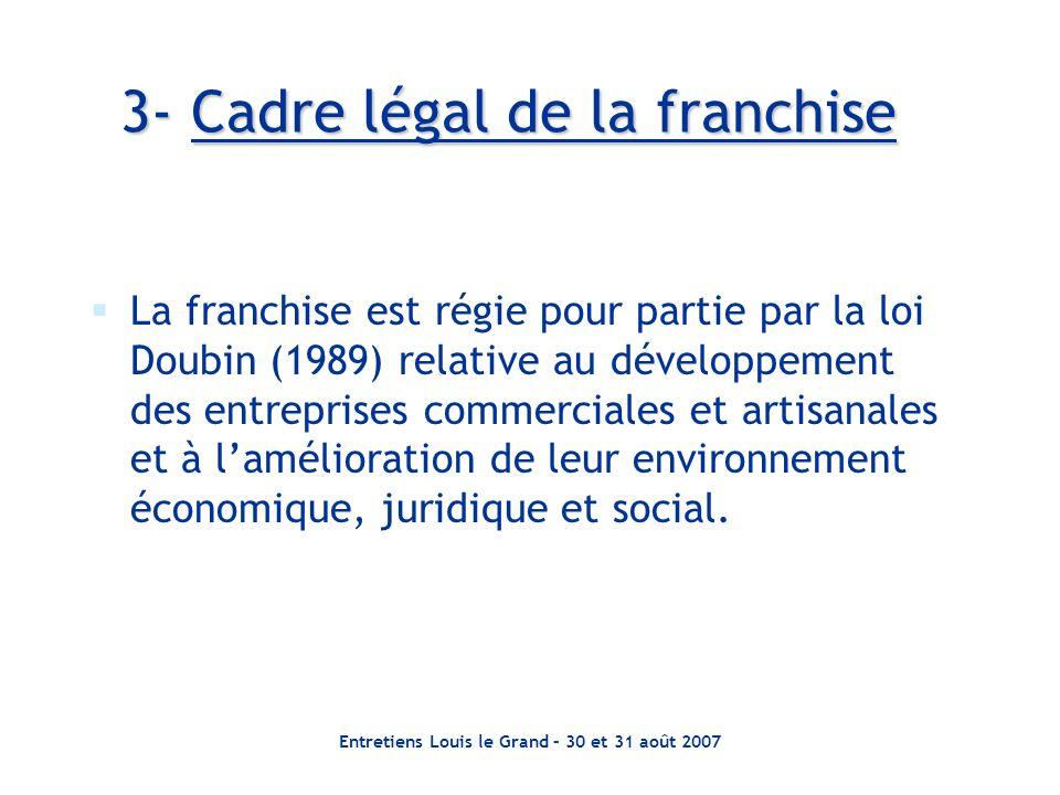 Entretiens Louis le Grand – 30 et 31 août 2007 3- Cadre légal de la franchise La franchise est régie pour partie par la loi Doubin (1989) relative au développement des entreprises commerciales et artisanales et à lamélioration de leur environnement économique, juridique et social.