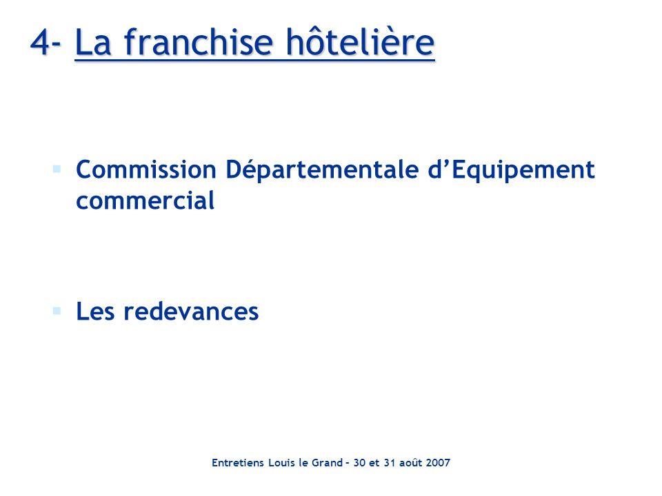 Entretiens Louis le Grand – 30 et 31 août 2007 4- La franchise hôtelière Commission Départementale dEquipement commercial Les redevances