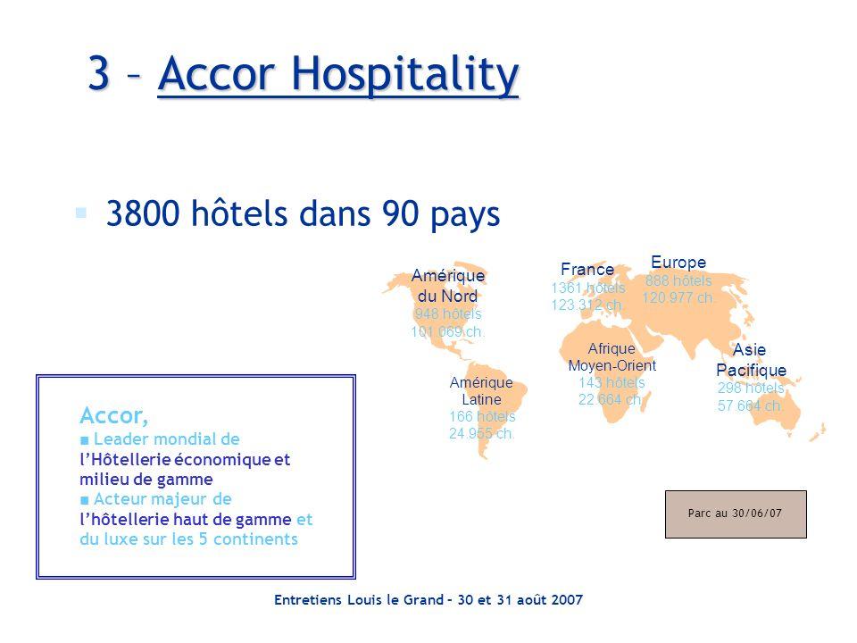 Entretiens Louis le Grand – 30 et 31 août 2007 3 – Accor Hospitality 3800 hôtels dans 90 pays Amérique du Nord 948 hôtels 101.069 ch.