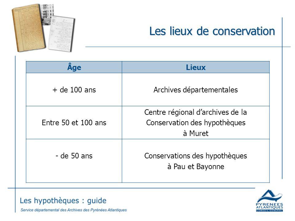Les lieux de conservation ÂgeLieux + de 100 ansArchives départementales Entre 50 et 100 ans Centre régional darchives de la Conservation des hypothèques à Muret - de 50 ansConservations des hypothèques à Pau et Bayonne