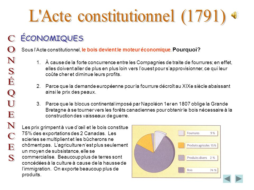 Organisation de la société du Bas-Canada sous lActe constitutionnel. StatutRôle Gouverneur, membres des Conseils, haut clergé, seigneurs nobles, etc.