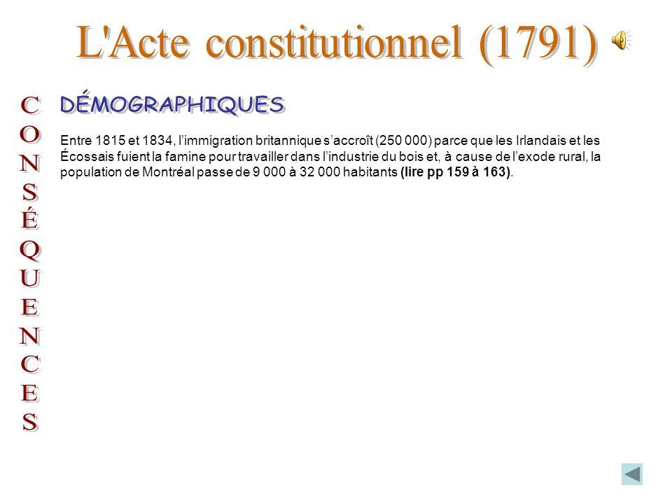 Entre 1815 et 1834, limmigration britannique saccroît (250 000) parce que les Irlandais et les Écossais fuient la famine pour travailler dans lindustrie du bois et, à cause de lexode rural, la population de Montréal passe de 9 000 à 32 000 habitants (lire pp 159 à 163).