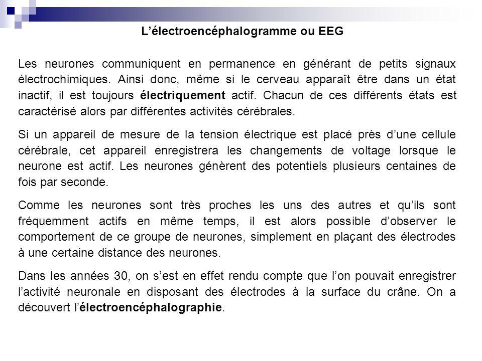 Ancien appareillage délectroencéphalographie Enregistrement numérique Aujourdhui, lEEG est enregistré grâce à un ordinateur sur lequel défile en continu les changements de voltage au cours du temps.