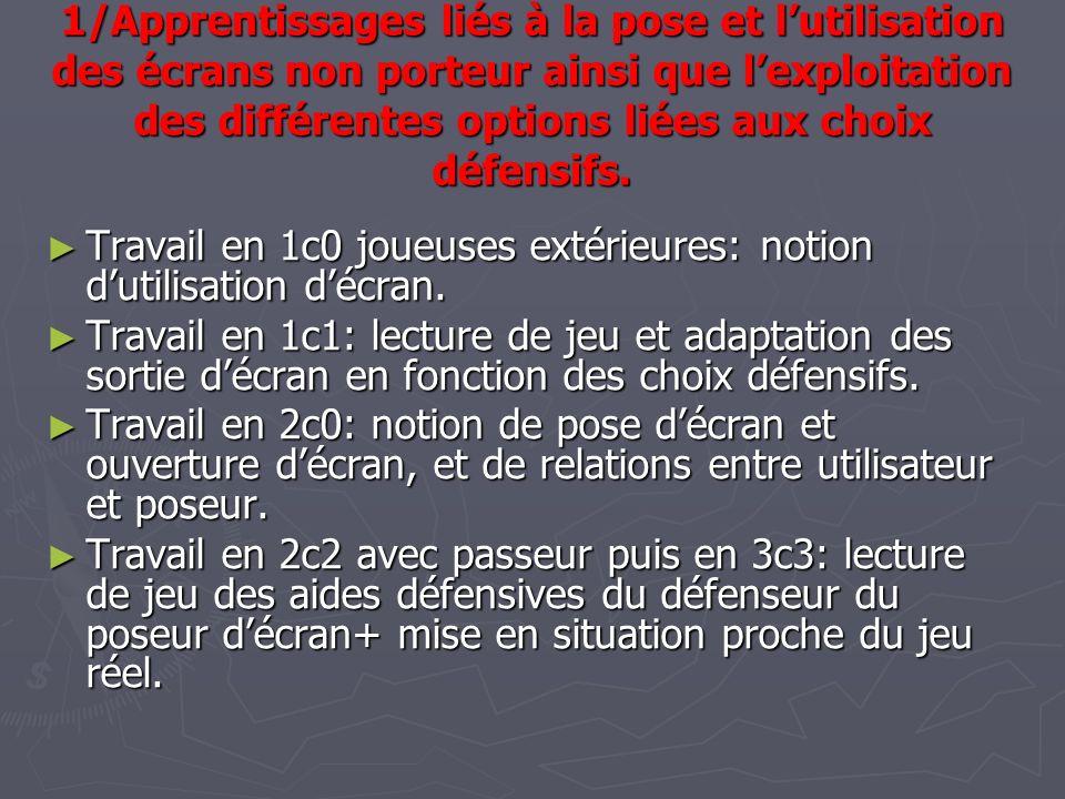 1/Apprentissages liés à la pose et lutilisation des écrans non porteur ainsi que lexploitation des différentes options liées aux choix défensifs. Trav