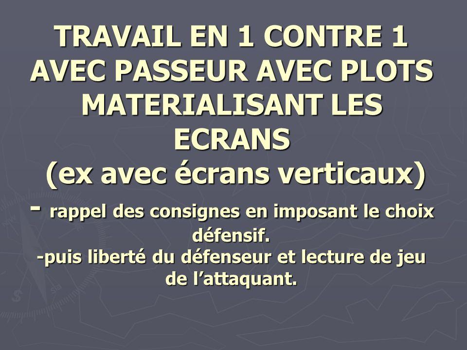 TRAVAIL EN 1 CONTRE 1 AVEC PASSEUR AVEC PLOTS MATERIALISANT LES ECRANS (ex avec écrans verticaux) - rappel des consignes en imposant le choix défensif