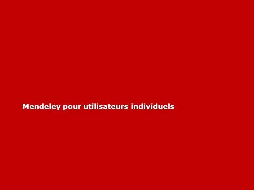 Mendeley pour utilisateurs individuels